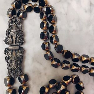 Vintage 1940's Jet Black Glass Necklace